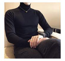 2019 가을 뉴 남성 터틀넥 스웨터 남성 블랙 그레이 섹시 슬림 피트 니트 풀오버 솔리드 컬러 캐주얼 스웨터 니트웨어(China)