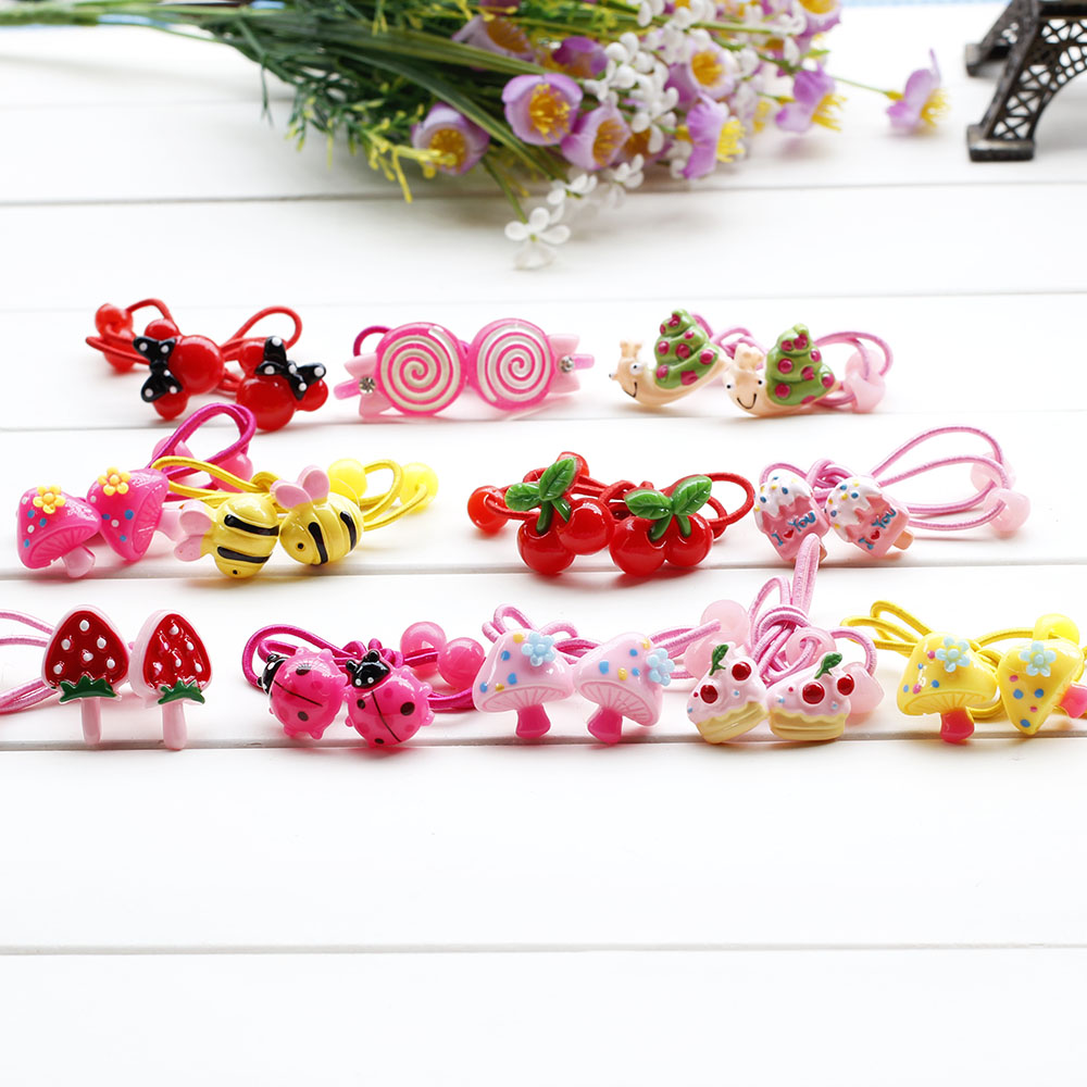 Cartoon Hair Rubber Bands Princess Kitty mickey Butterfly cake Headwear Girl Hair Rope Hearts Hair Accessories