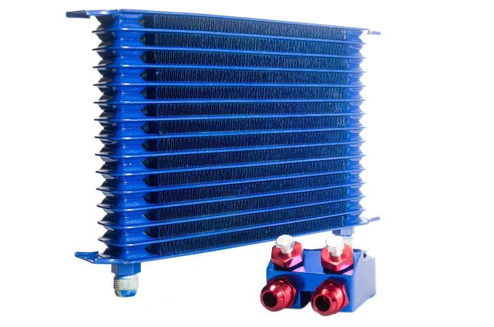 VR RACING-BLUE 15 ROW AN-10AN UNIVERSAL ENGINE OIL COOLER KIT + ALUMINUM HOSE END KIT VR5128