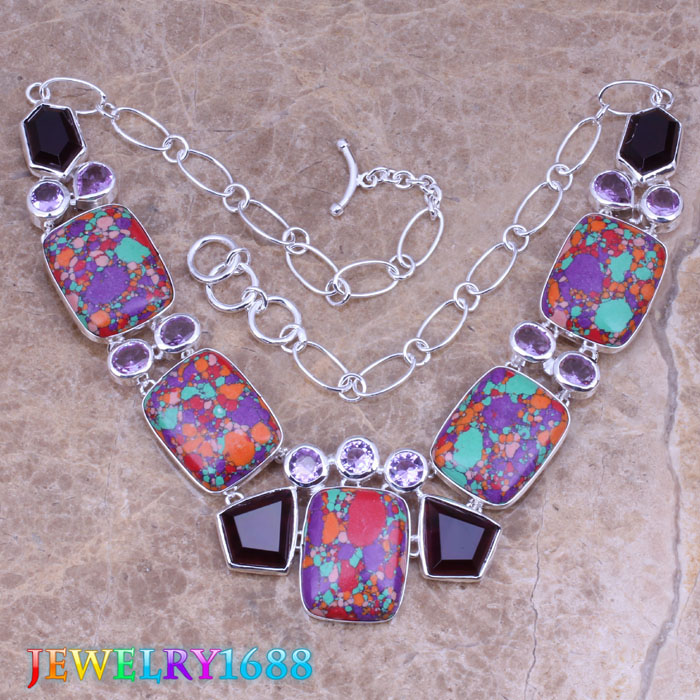 Multicolor Natural Stone Purple Amethyst 925 Sterling Silver Overlay High Quality Grade Fashion Jewelry Necklace L622<br><br>Aliexpress