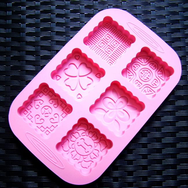 Wholesale Silicone Moon Cake Mold 6 Square Holes Handmade Soap Mould Chocolate Ice Cube Bakeware Mold 1pc/lot(China (Mainland))