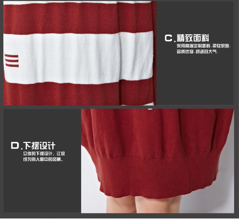 2015 Женщины's Autumn Pullovers European Стиль Красный Черный Свободный Geometric Тонкий Модный Вязанный свитер Женщиныs(R.Melody DS0152)