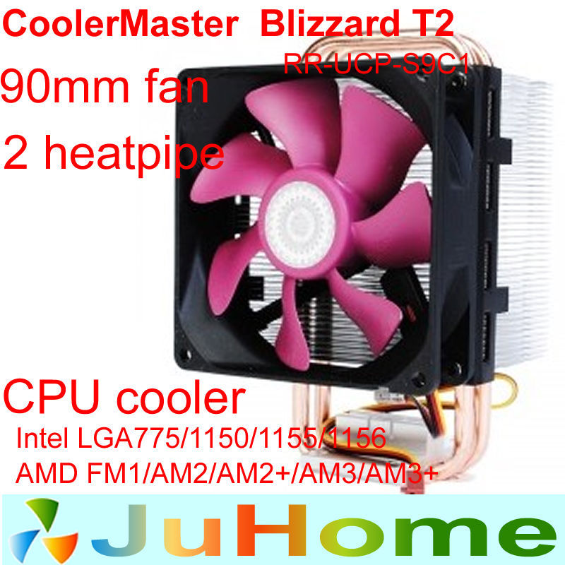 9cm fan 2 heatpipe Intel LGA1156/1155/775/1150 AMD FM1/AM3+/AM2/AM2+cpu radiator CPU cooler CPU Fan CoolerMaster Blizzard T2(China (Mainland))