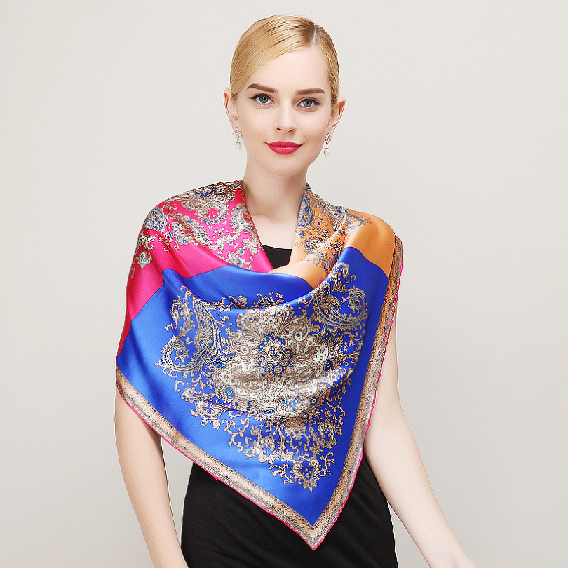 Fashion Royal Style Blue Pink Silk Scarf New Europe America Brand Large Square Scarves Luxury Hot Stamping Women Scarf Shawl(China (Mainland))