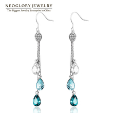 Neoglory Blue Austrian Crystal Long Tassel Water Drop Dangle Earrings Girl Bridal Bday Gifts Fashion Jewelry Brand 2016 New JS9(China (Mainland))