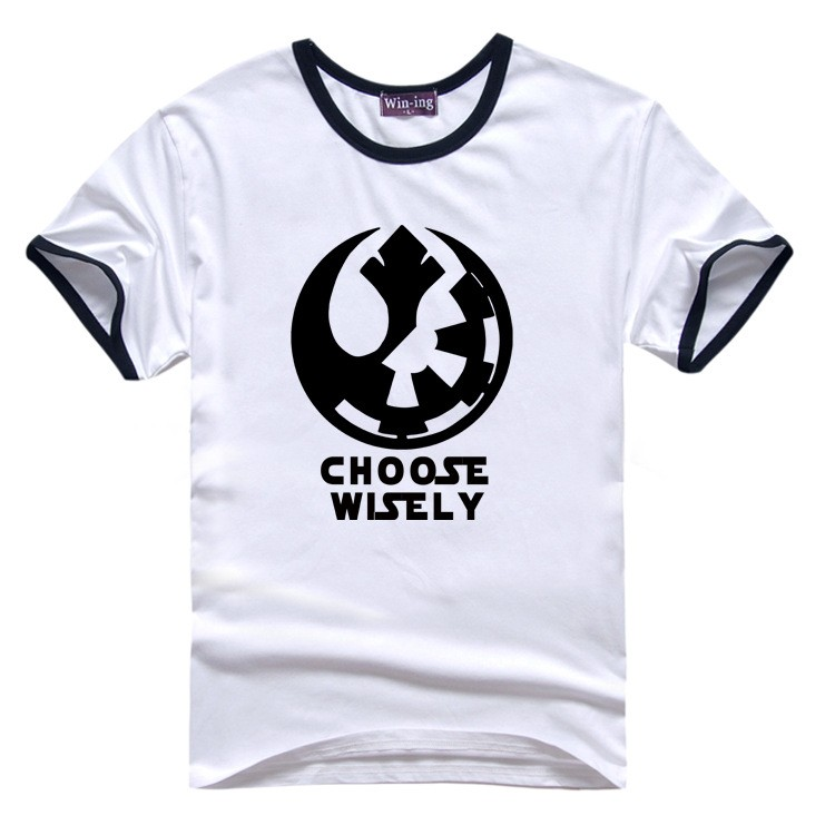 "New "" Choose Wisely "" Star Wars Galactic Empire Rebel Alliance Print T-shirt Cotton Unisex Sun Tee Shirts Teen Loose Homme Tops  HTB19kENLVXXXXcnXXXXq6xXFXXX3"