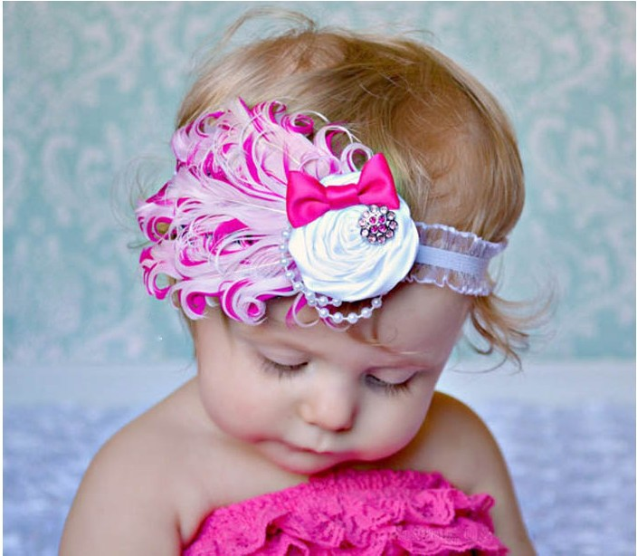 Fashion Top Selling Baby Hats /Toddle Head Band Fashion Design Baby Dedicated Feather Flower Modelling of Diamond Hair Band(China (Mainland))
