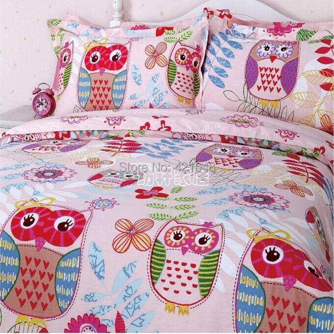 Free Shipping 100% Cotton Cartoon Pink Owl Bedding Set 3 .