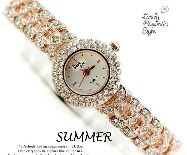 Circle rhinestone female watch full rhinestone ladies watch fashion the trend of fashion bracelet rose gold ladies watch<br><br>Aliexpress