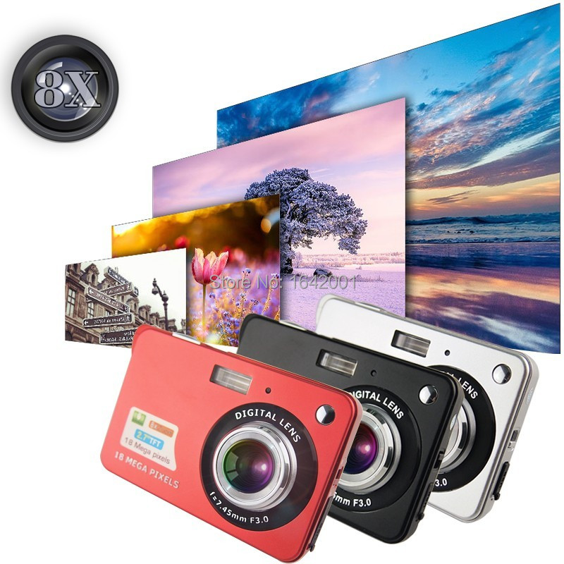 "High Quality! 1280 * 720 HD Mini Digital Camera 18MP 2.7"" TFT 8x Zoom Smile Capture Anti-shake Video Camcorder от Aliexpress INT"