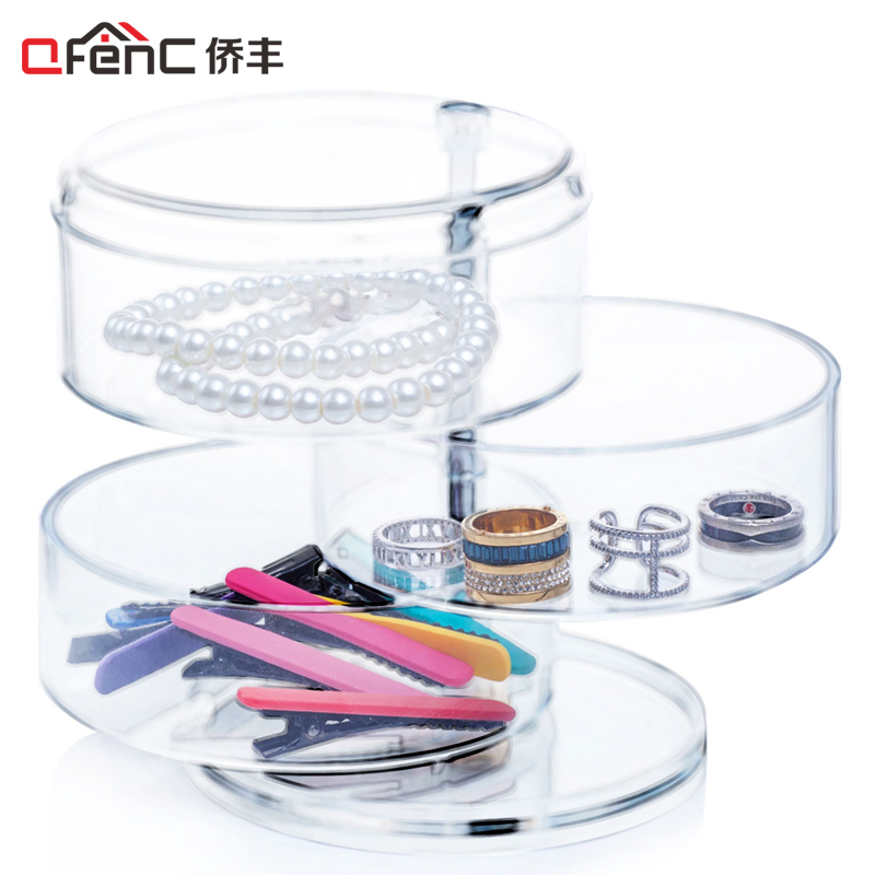 QFENC Premium Quality 3 Compartments Cylinder Jewelry Organizer Rotatable Plastic Headband & Hair Accessory Holder Storage Stand(China (Mainland))