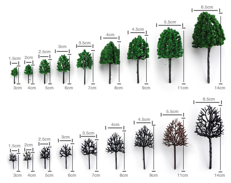 3cm-16cm each size ho, n ,g scale model train layout miniature plastic model tree(China (Mainland))