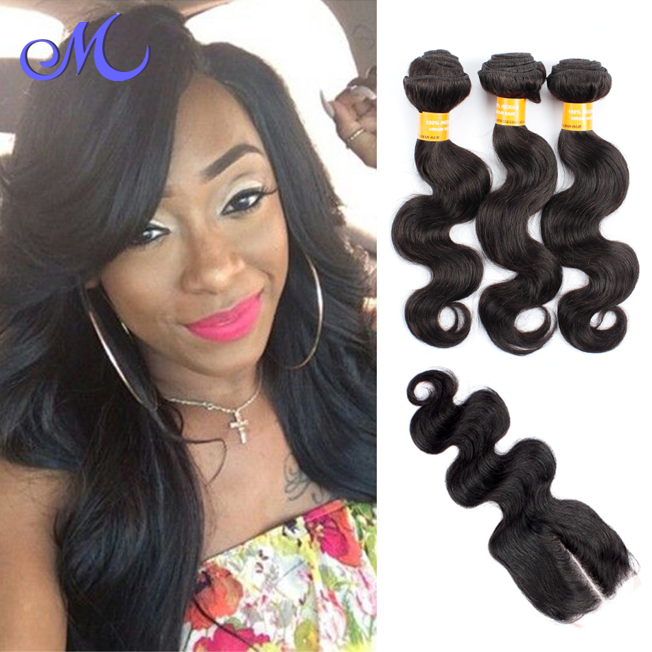 Unprocessed 6A Indian Virgin Hair Body Wave Human Hair Weave 1pc Closure With3 Bundles Human Hair Extensions Cheap Free Shipping<br><br>Aliexpress