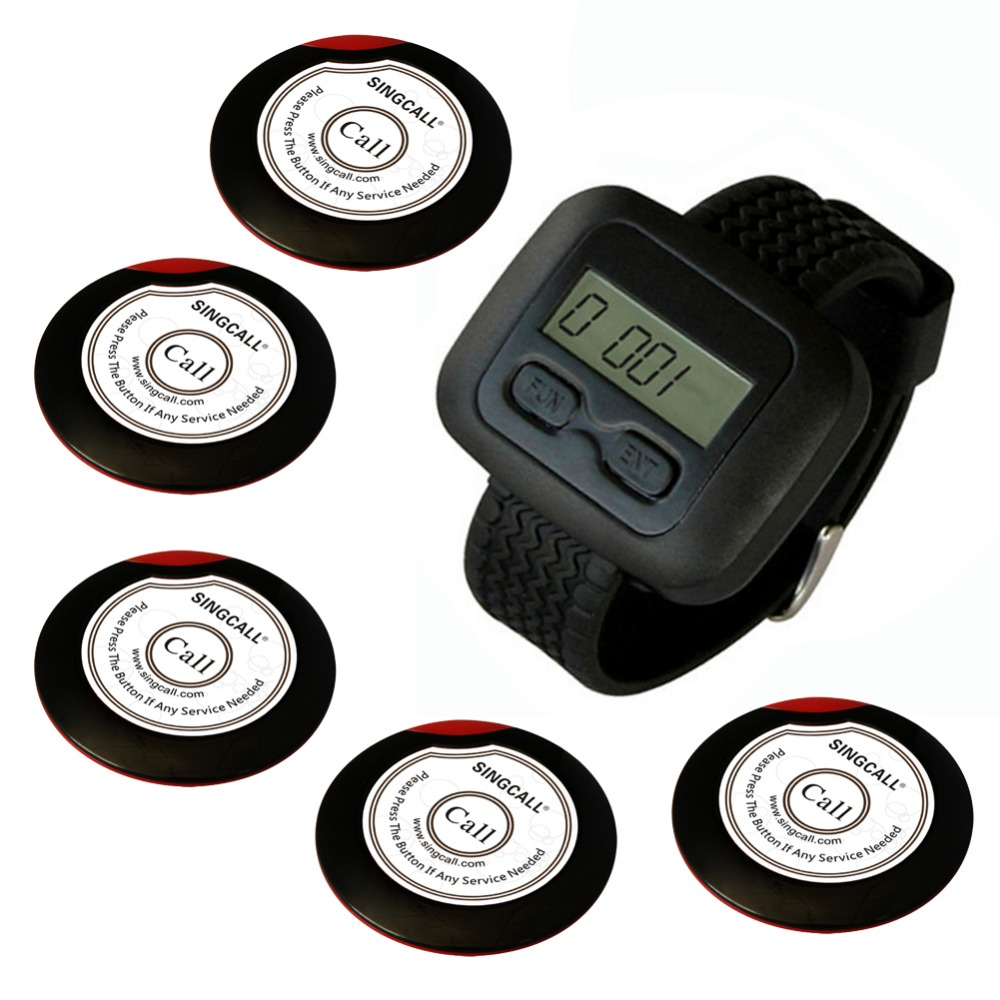 wireless waiter pager system for restaurant,supermarket and so on,5pcs of table button and 1 pc of wrist watch receiver(China (Mainland))
