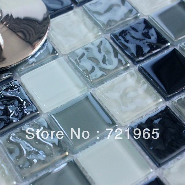 Black and White Glass Mosaic Tile Kitchen Backsplash CGMT169 bathroom wall &amp; floor mosaic tiles free shipping<br><br>Aliexpress