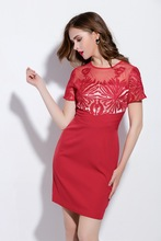 Buy Londinas Ark Store 2017 New High-End Summer Party Dress Floral Embroidery Lace Mini Short Sleeve Hollow Pencil Women Party Dress for $48.28 in AliExpress store