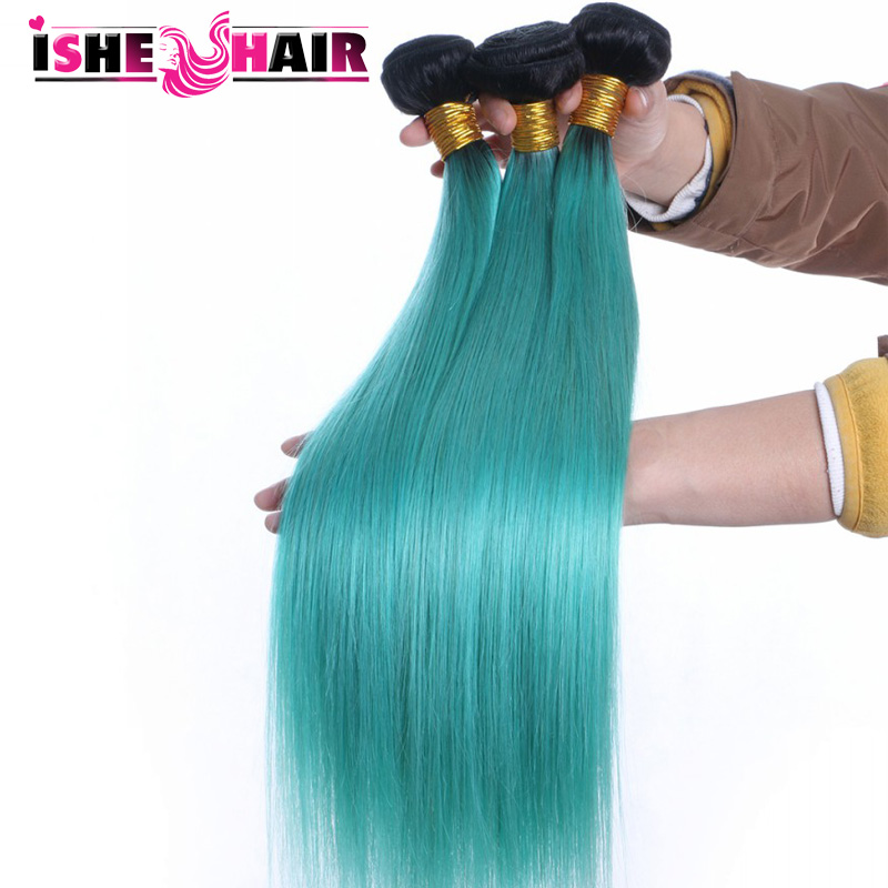 2 Tone Ombre 1B/Blue  Brazilian Virgin Hair Straight  Best Quality ISHE  Products Ombre Human Hair Extensions<br><br>Aliexpress