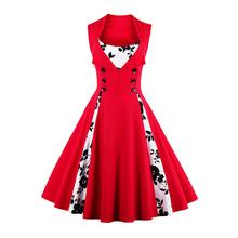 XAXBXC 2017 Summer Cotton Retro Vestido Black Rose Prints Patchwork Button Vintage 1950s Swing Women Party Dress Plus Size(China)