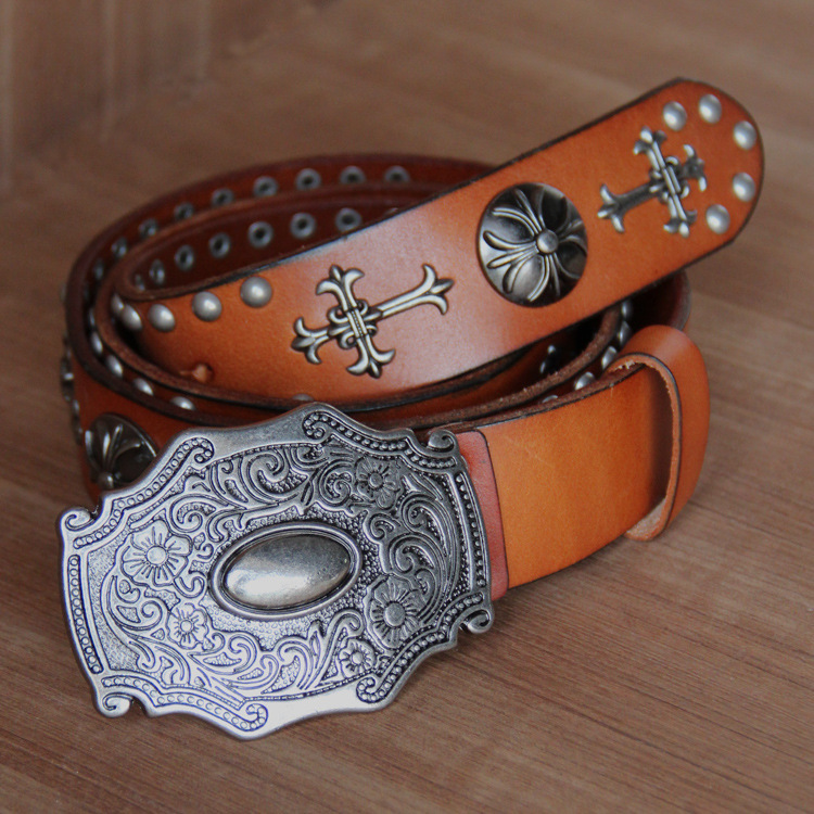 wholesale men steel punk young boy cross rivet top genuine cow leather belt(China (Mainland))