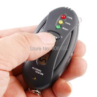 New Alcohol Breath Tester Timer with Flashlight black keychain Digital Breathalyzer Car Detector Gadget