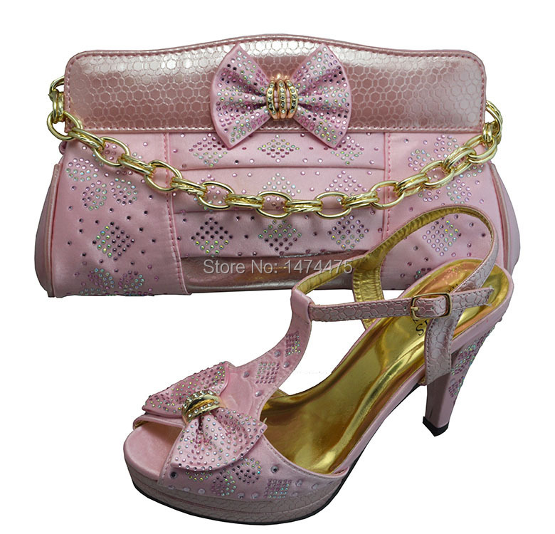 Matching Shoes And Bags Italy For Party Weddinghot Selling Italy Shoe And Bag Set With Bowknot