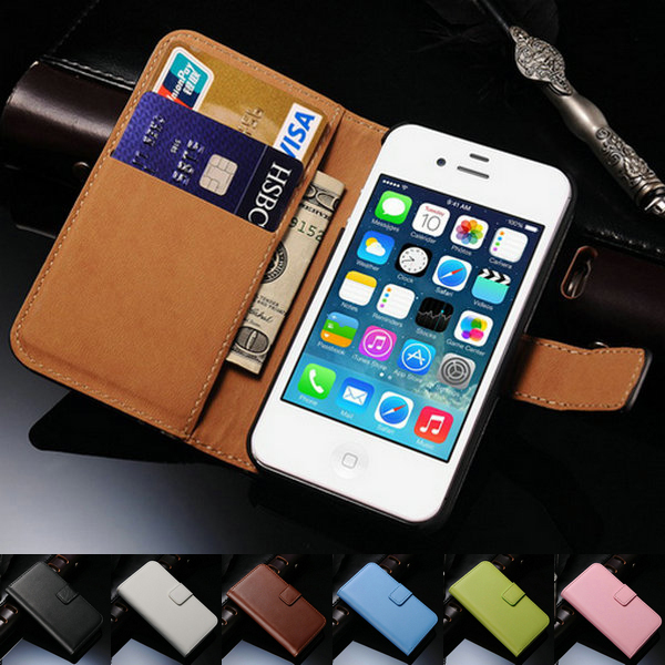 Luxury Genuine Real Leather Case for iPhone 4 4S 4G Retro Vintage Stand Design Mobile Phone Case for iphone4(China (Mainland))