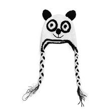Lovely Handmade Crochet Knit Panda Baby Toddler Kids Hat Cap Warm 100% Cotton Baby Cute Cartoon Panda Hat(China (Mainland))