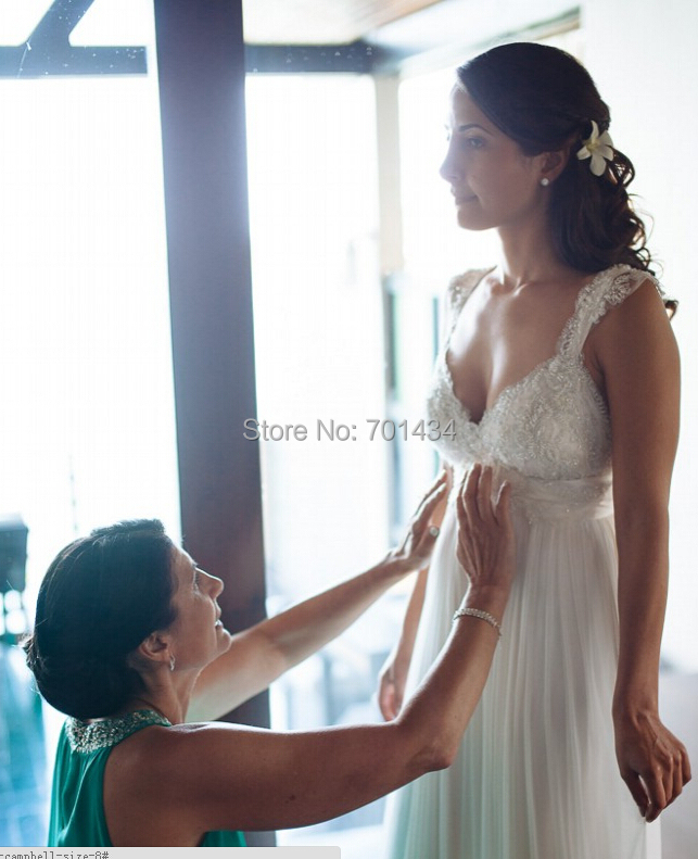 Lovely Lace Capped Sleeves Sea Wedding Dresses 2015 Sweetheart Chiffon Appliques Sexy Dress Bride Custom Made(China (Mainland))