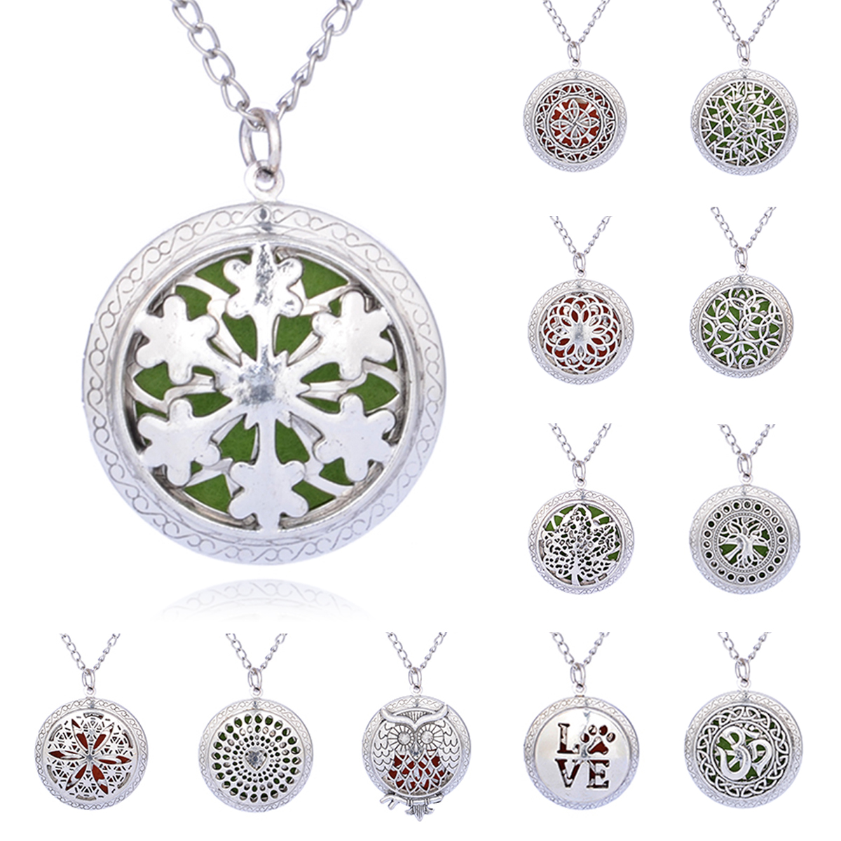 Vintage Aromatherapy Open Locket Necklace Silver Plated Hollow Round Pendant With Pads Oil Essential Diffuser Pendant Necklace(China (Mainland))
