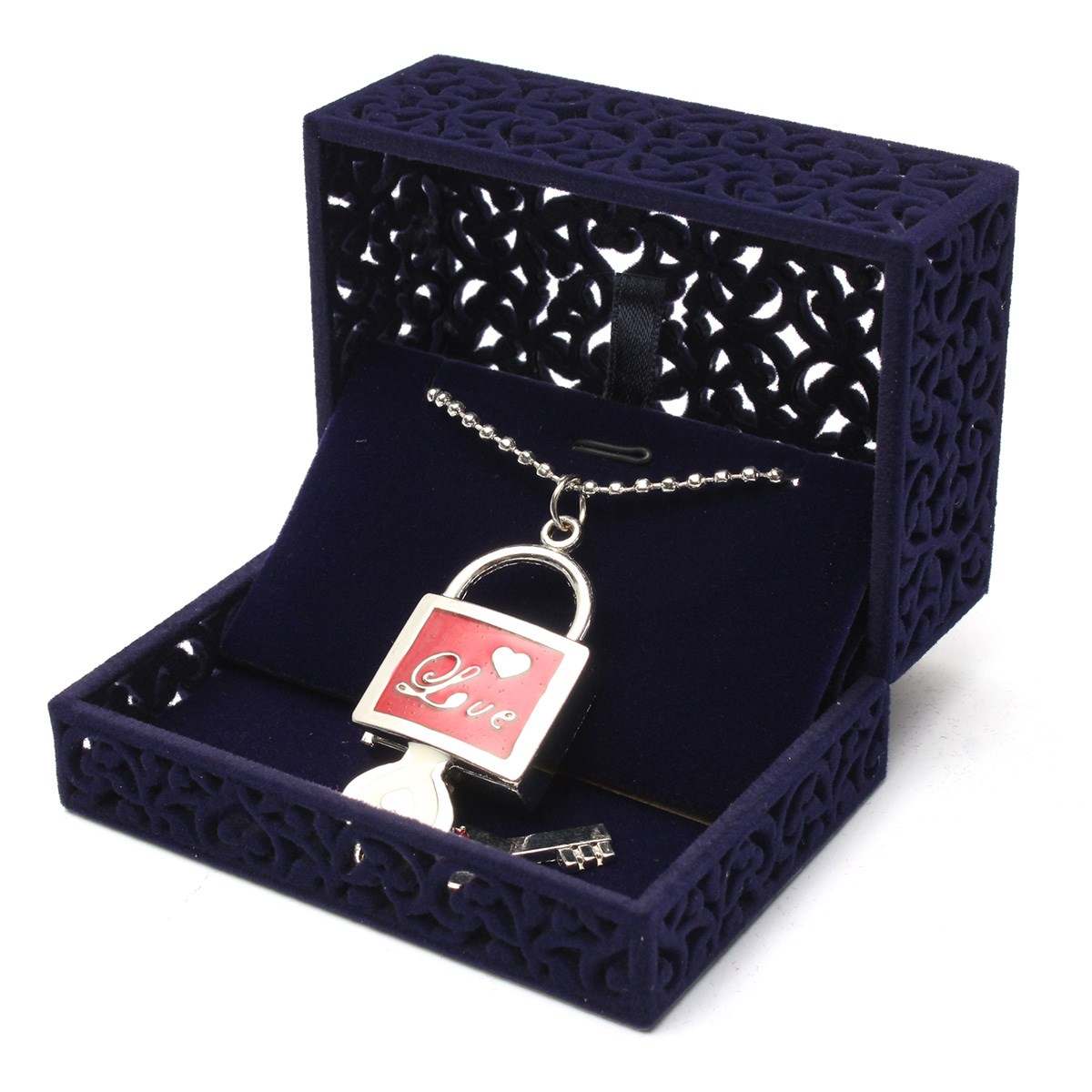 2016 New Velvet Flock Small Necklace Box Hollow Navy Blue Jewellery Case Pendant Holder Display Box Gift(China (Mainland))