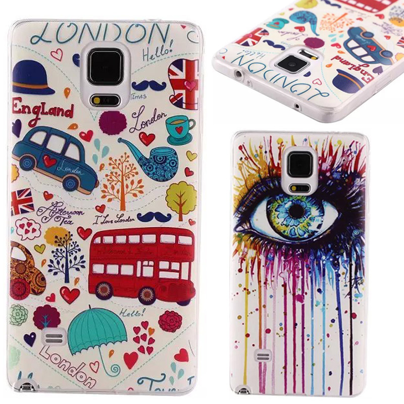 50pcs/lot Wholesale Case Fashion Soft Silicon Shell TPU Case for Samsung Galaxy Note 4 N9100 Protective Cover free shipping