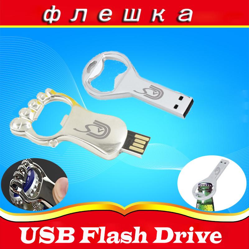 Hot sale Beer bottle opener key chain usb flash Drive Memory 32g Stick feet 64G 8G 4G usb flash pen Free Shipping default custom(China (Mainland))