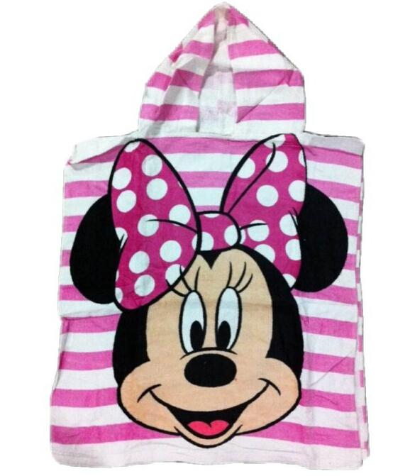 Hotsale! High Quality Children Towels Cute Minnie Princess Beauty Hooded Bath Towel Cartoon Beach Towels Free Shipping(China (Mainland))