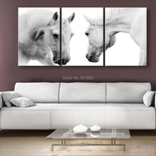 E-HOME Stretched Canvas Art The White Horses Decoration Painting Set of 3