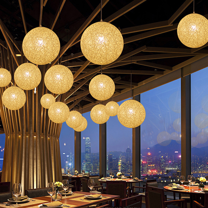 30cm Country Simple Modern Restaurant lamp, Pastoral Drop Light Rattan Lamp Shade , Handmade Hemp Ball Chandelier(China (Mainland))