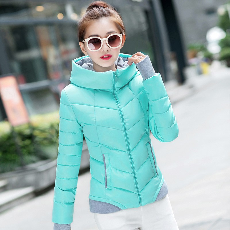 2017 Winter Jacket women Plus Size Womens Parkas Thicken Outerwear solid hooded Coats Short Female Slim Cotton padded basic tops