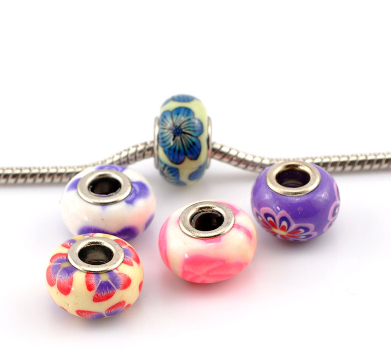 """Hot Sale! 4x30PCs Mixed Flower Pattern Polymer Clay European Charm Beads 15x9mm(5/8""""x3/8"""") For Jewelry Making(China (Mainland))"""