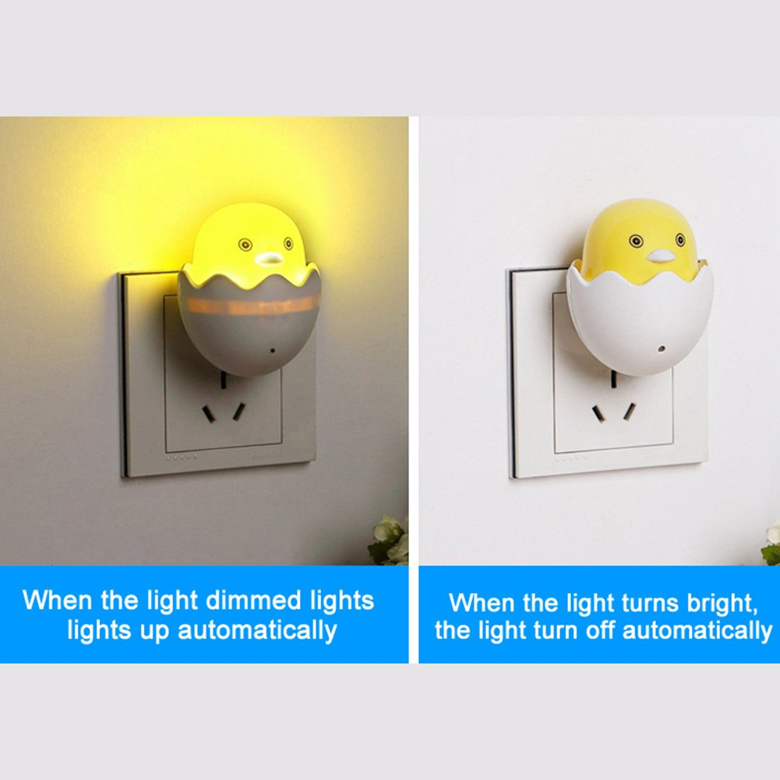 1pcs New EU Plug Duck AC110-220V Wall Socket Light-control Sensor LED Night Light Bedroom Lamp