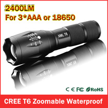 Big Promotion Ultra Bright CREE XML T6 LED Flashlight 5 Modes 2400 Lumens Zoomable LED Torch Free shipping(China (Mainland))