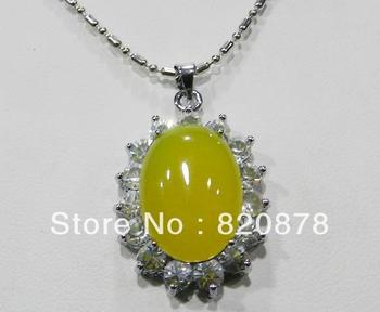 Yellow Natural Topaz & Crystal Egg-shaped Pendant Necklace