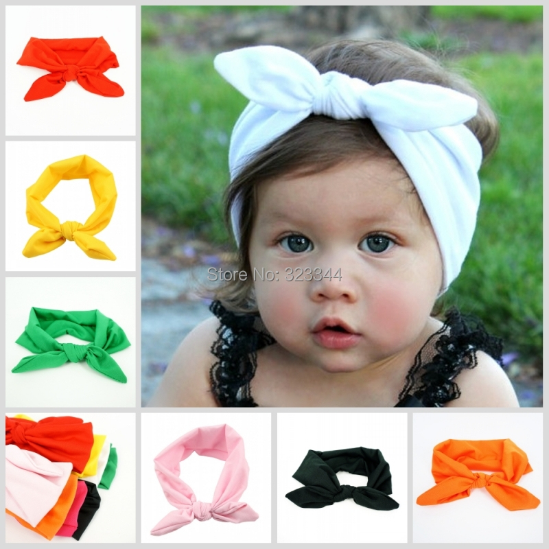 Lovely Bunny Ear Headband Scarf 8pcs/lot Hair Head Band Cotton Bow elastic Knot Headband rabbit baby hair accessories kids(China (Mainland))