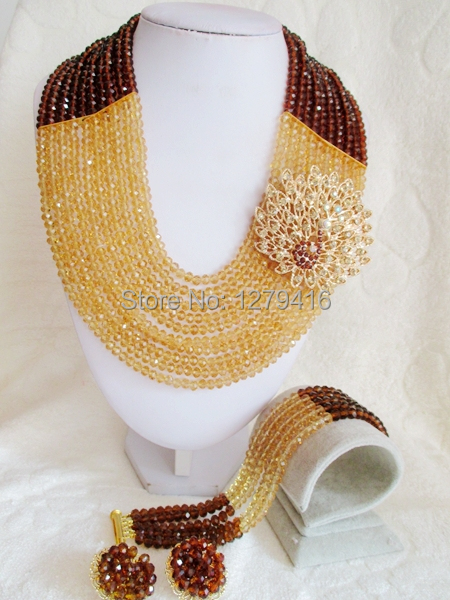2014 Rushed  Classic Women Crystal Jewelry Sets New Arrived Nigeria Jewelry Set Necklace Africa Beads Set  AAT019<br><br>Aliexpress