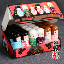 24Pcs/box Lip Balm Lovely Kimono Doll Lipbalm Baby Lips Makeup Gifts 2.4g Fruit Nourishing Moisturizing Repair Wholesale(China (Mainland))