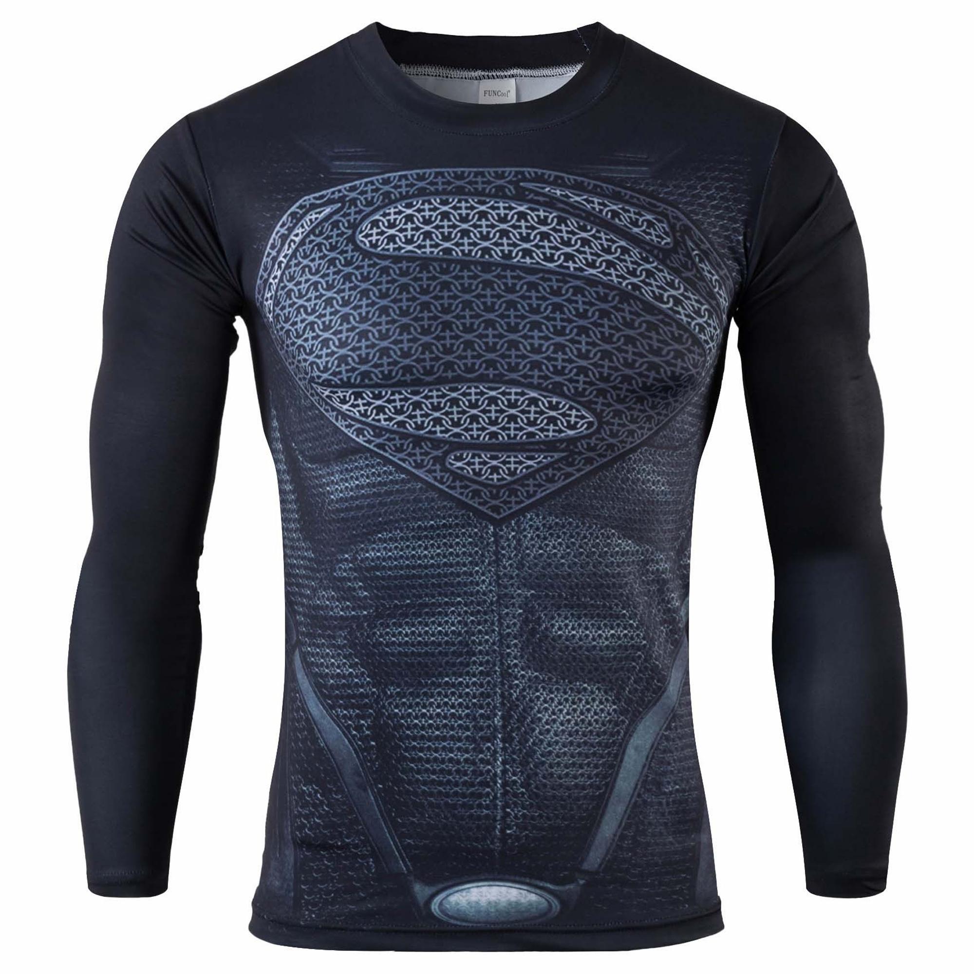 2016 long sleeve t shirt men Superman Batman Spiderman Ironman Captain America Avengers Costume Superhero Soldier Marvel Comics(China (Mainland))