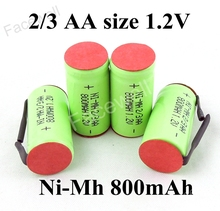 Buy 10pcs Original Battery 2/3 AA 1.2v nimh rechargeable 800mah ni-mh aa 2/3 batteries pnc shaver battery electric shaver for $13.00 in AliExpress store