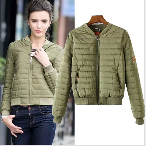 Free shipping and winter 2015 new striped quilted collar baseball long sleeved black, Navy, army green jacket ft227(China (Mainland))