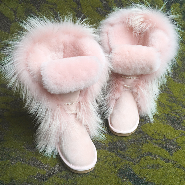 Popular  High Quality  Pink Fur Boots  Women Boots Genuine Leather Shoes Outdoor Winter Snow Boot Motorcycle Boots