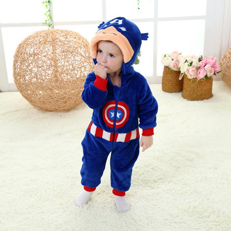 Spring and autumn baby boy clothes spiderman Captain America baby boy rompers Red Blue newborn clothes bodysuit one piece bebe (9)