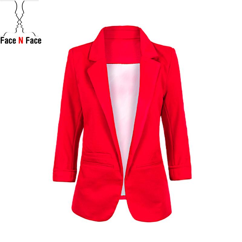 Blazer Women 2015 Autumn Candy Color Rolled up Sleeve Boyfriend Style No-buckle Blazer Feminino Slim Blazer Jackets Suits(China (Mainland))