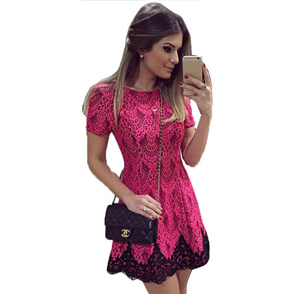 2017 Women Fashion Summer Spaghetti Strap Dress Split Hem Sexy Floral Lace Rose Red Dress Short Sleeve Mini Party Dress(China (Mainland))